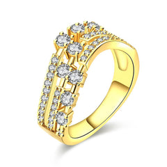 Three Flow Line Gold Plated Ring
