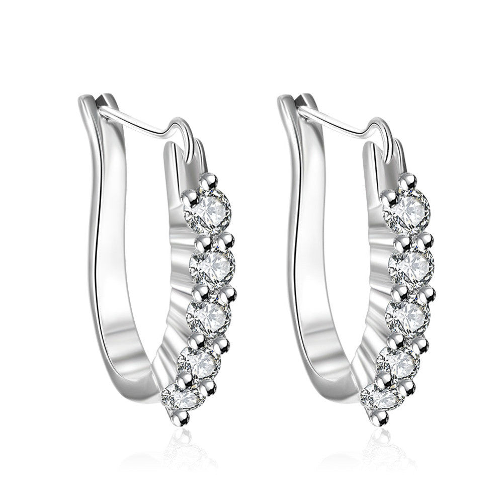 U-Shaped Insets Silver Earring