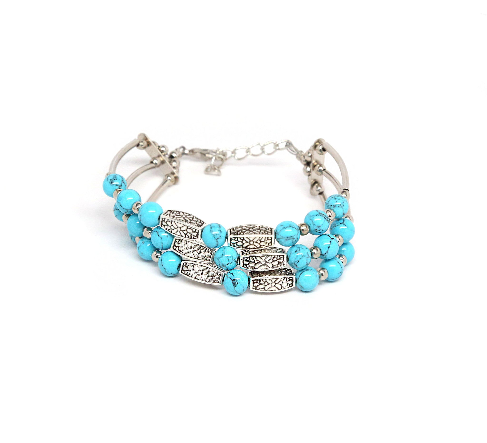 Turquoise Beads Bracelet with Marble Pattern Charms