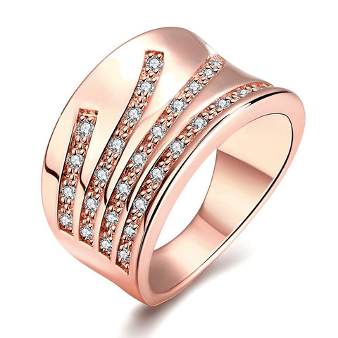 Elegant Curve Rose Gold Plated Ring
