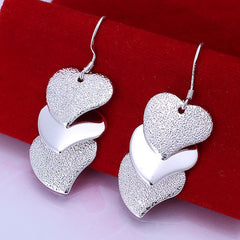 Three Heart Silver Earring