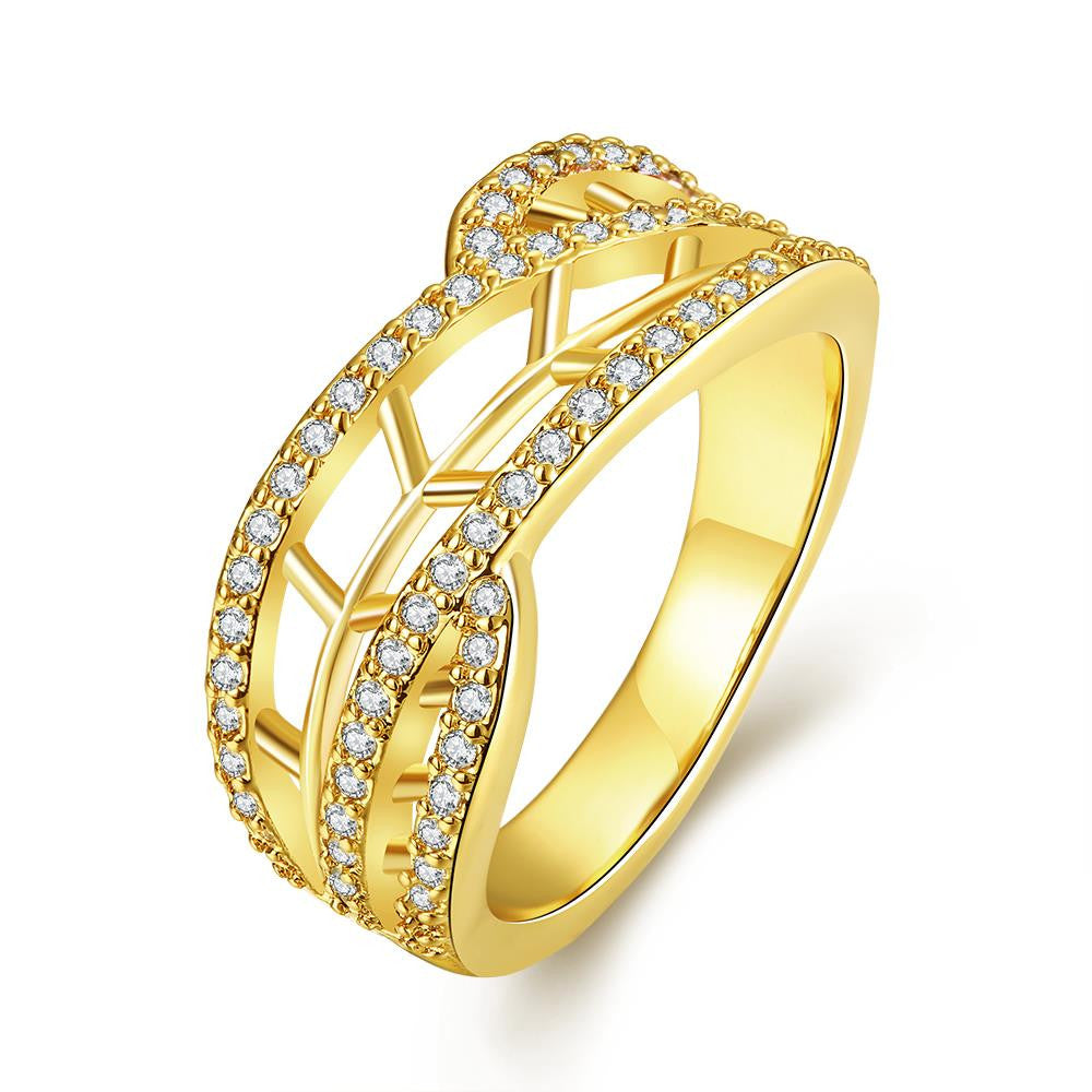 Openwork Ring with Zirconia Gold Plated Ring