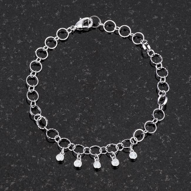 .55 Ct Stunning 8 Rhodium Bracelet with CZ Charms