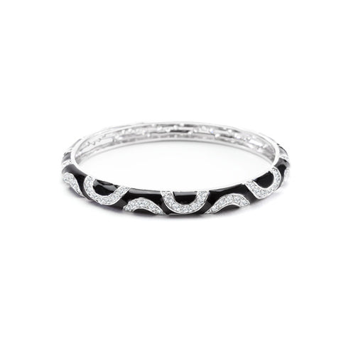 Black Enamel Cubic Zirconia Swirl Bangle