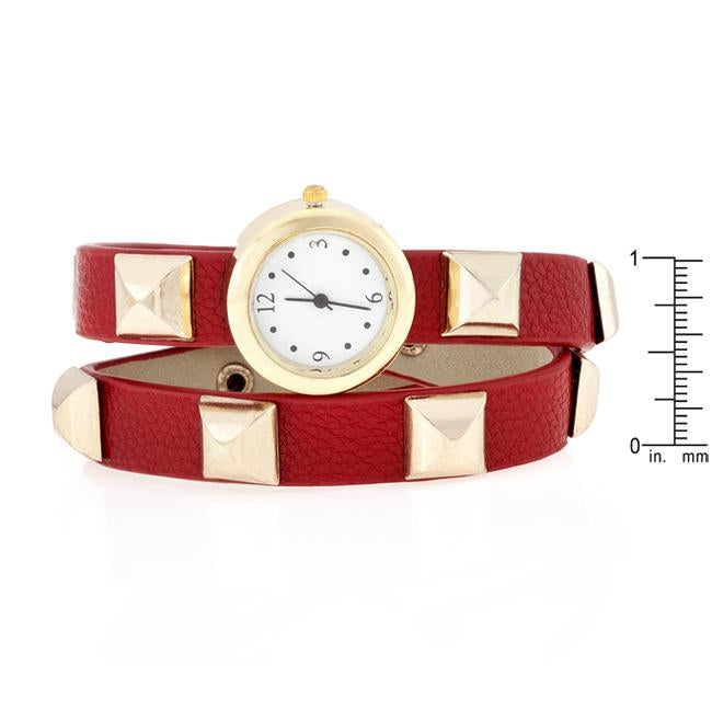 Red Studded Wrap Watch
