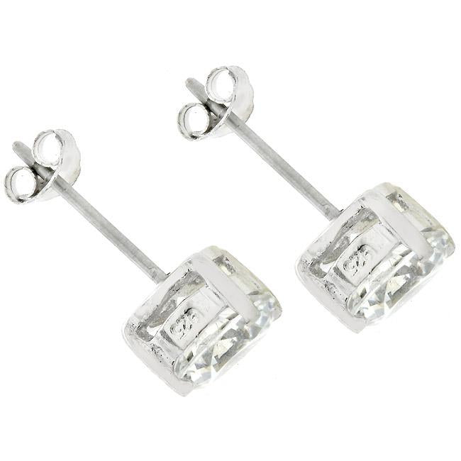 7mm Round Cut Stud Earrings