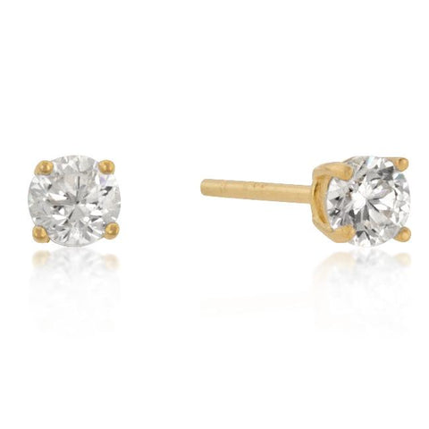 4mm New Sterling Round Cut Cubic Zirconia Studs Gold