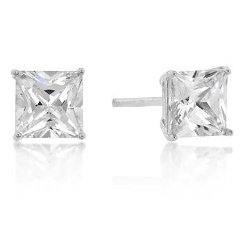 6mm New Sterling Princess Cut Cubic Zirconia Studs Silver