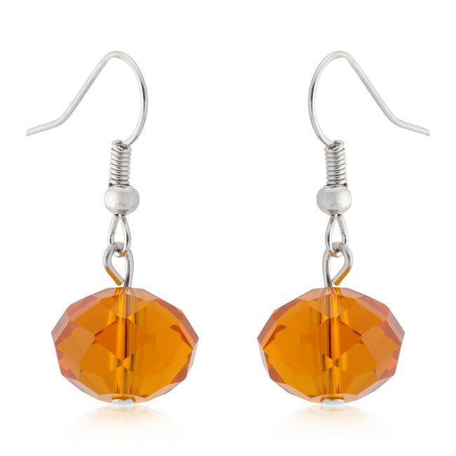 Orange Faceted Bead Earrings
