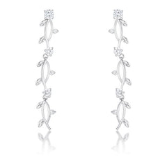 1.1Ct Vine Design Rhodium Earrings