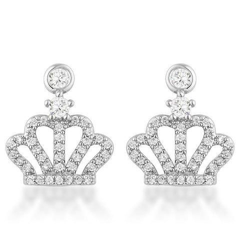 0.5 Ct Rhodium Crown CZ Earrings