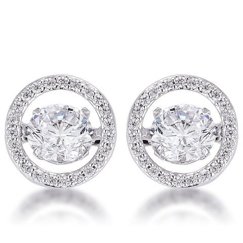 1.9Ct Rhodium Plated Pave Dancing CZ Halo Stud Earrings