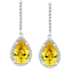 Canary Cubic Zirconia Drop Earrings