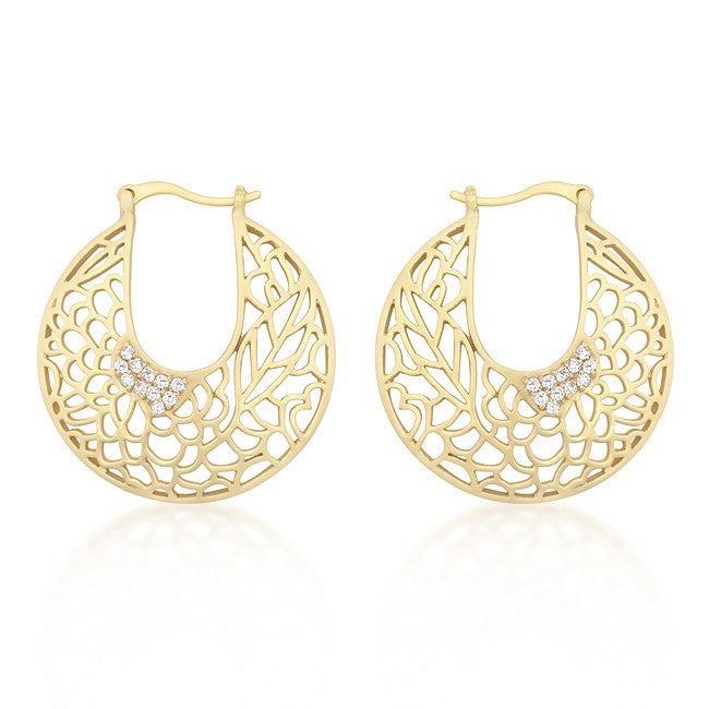Matte Gold Floral Filigree Hoop Earrings