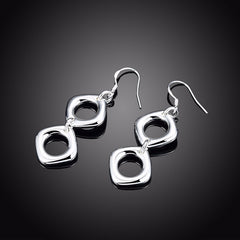 Double Square Silver Earrings
