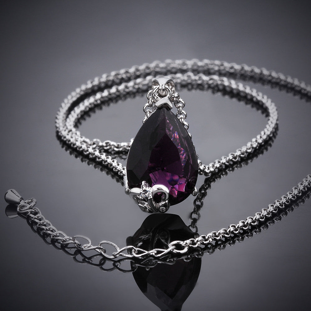 Favorite Purple Zirconnia White Gold Plated Necklace