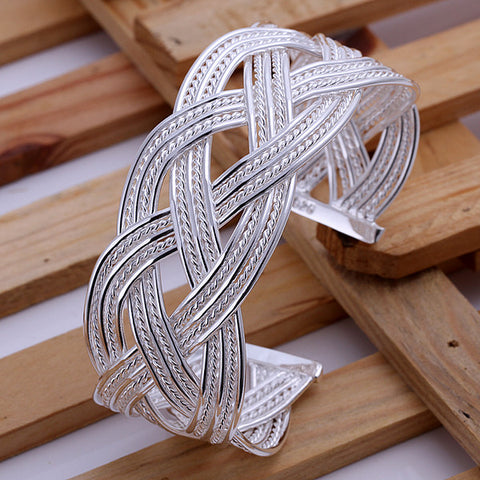Large Braided Silver Bracelet