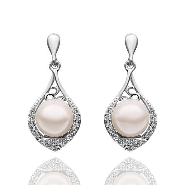 Teardrop of Pearls White Gold Dangle Earrings