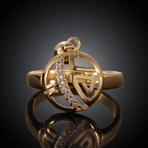 Geometry Round Pendant Gold Plated Ring