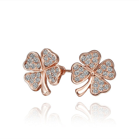 Good Luck Four Leaf Clover Stud Earrings