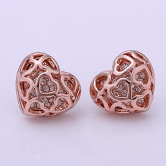 Sacred Heart Stud Gold Earrings