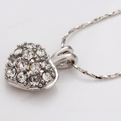 Crystal Heart White Gold Plated Necklace