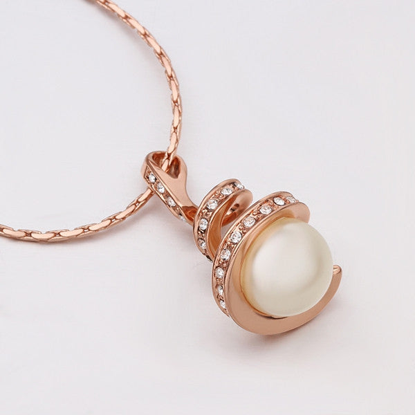 Twisted Rose Gold Plated Pearl Necklace