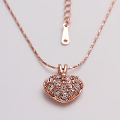 Rose Gold Heart Clear Cubic Zirconia Necklace