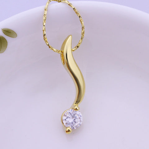 Wave Crystal Gold Plated Necklace