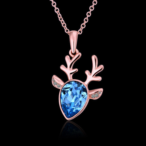 Blue Crystal Deer Rose Gold Plated Necklace
