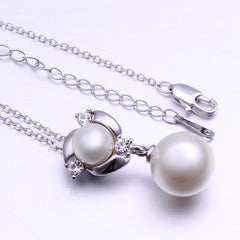 Infinity White Pearl White Gold Plated Necklace