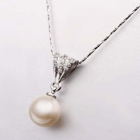 White Pearl White Gold Plated Necklace
