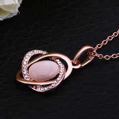 Opal Inlaid Circle Cross Rose Gold Plated Necklace