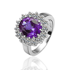 Purple Flower Zircon White Gold Plated Ring