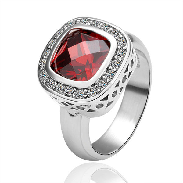 Red Square Zirconia White Gold Plated Ring