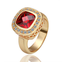 Red Square Zirconia Gold Plated Ring