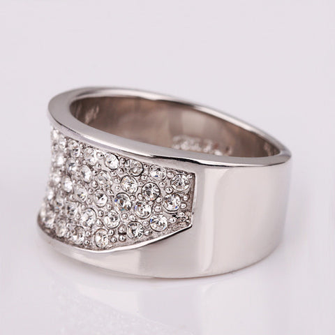 Zirconia Inlaid Band White Gold Plated Ring