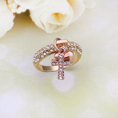 Charming CZ Dangle Gold Ring