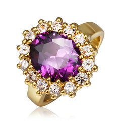 Purple Zirconia Gold Plated Ring