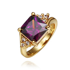 Purple Square Zirconia Gold Plated Ring
