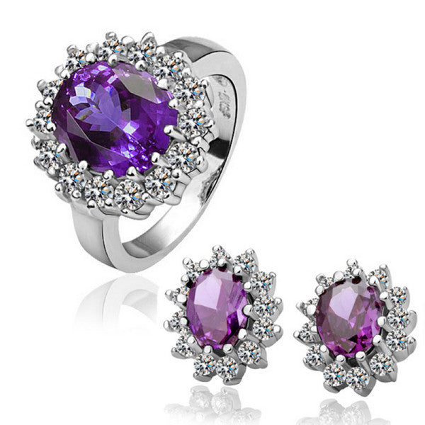 Purple Zircon Two-piece White Gold Jewelry Set