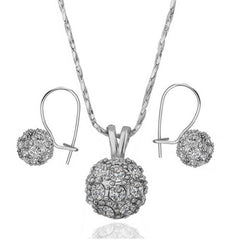 Shining Ball Two-piece White Gold Jewelry Set