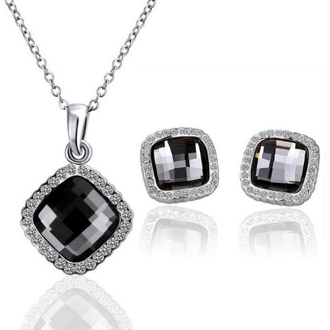 Black Square Two-piece White Gold Jewelry Set