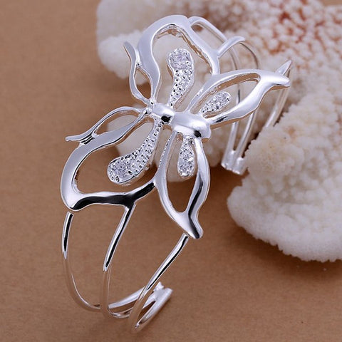 Silver Butterfly Bangle