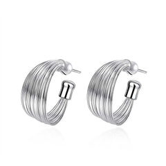 Multiline Silver Earrings