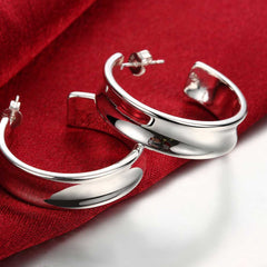 Smooth Semicircle Silver Earring