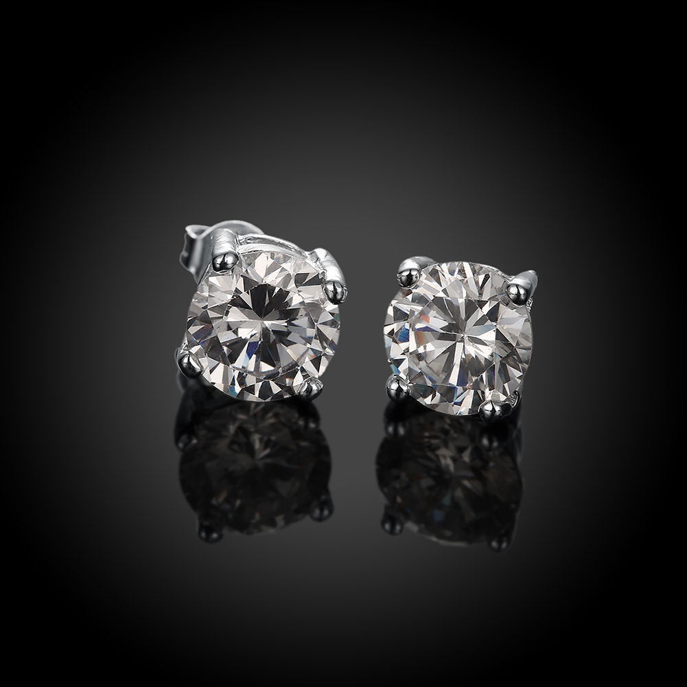 Round CZ Diamond Stud Earrings