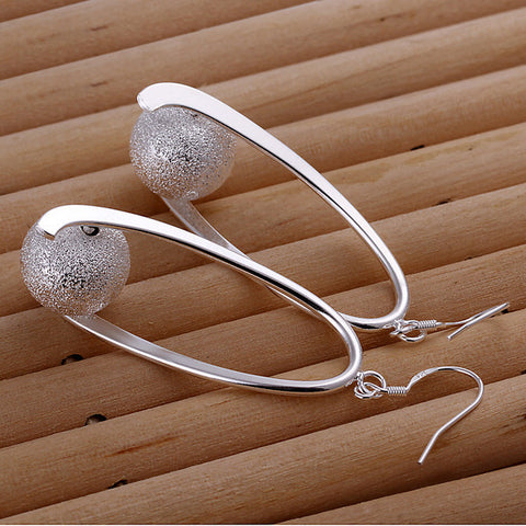 Sandy Ball Silver Earrings