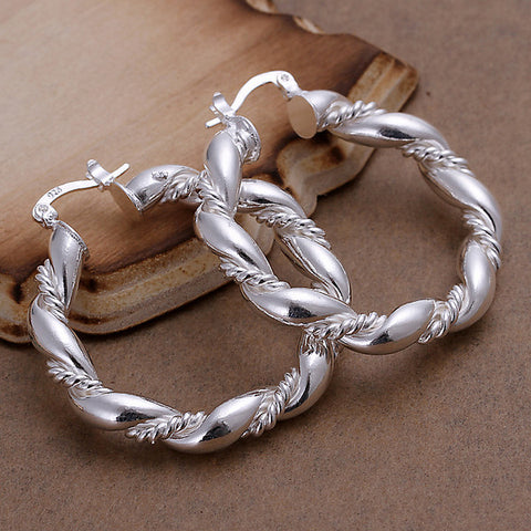 Twisting Hoop Silver Earrings