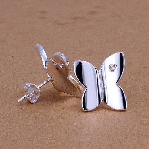 Butterfly Stud Silver Earrings